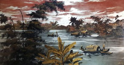 Atelier de THANH LÊ (1931) Sur la rivière....