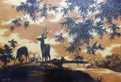 Atelier de THANH LÊ (1931) Cerf et biches...