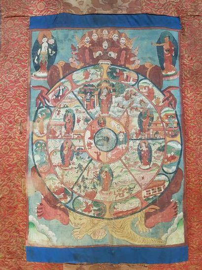 Thangka en couleurs sur textile représentant...