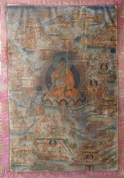 Thangka en couleurs sur textile. Tibet, fin...