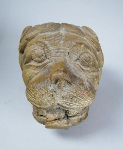 Elément décoratif à motif de tête de lion...