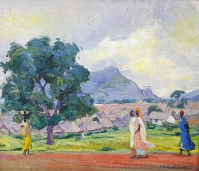 André HERVIAULT (1884-1969) Village africain....