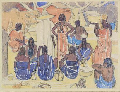 Émile Marie BEAUME (1888-1967) Scène de marché....