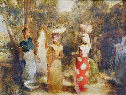 Ferdinand PIRE (1943-?) Jour de marché. Huile...