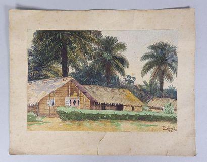 Ecole africaine du XXe siècle Vues de villages,...