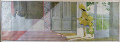 André Edouard MARTY (1882-1974) - Femme dans une tourelle saluant des cavaliers....
