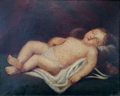 Ecole du XIXe siècle Enfant endormi. Huile...