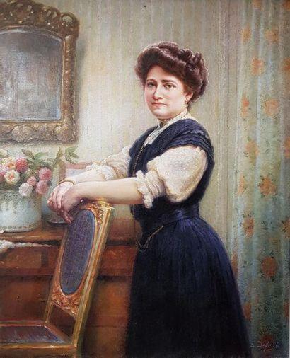 Edmond Alfonse DEFONTE (1862-?) Portrait de femme à la chaise. Huile sur toile signée...