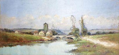 GILBERT (XXe siècle). Village et pont. Huile...