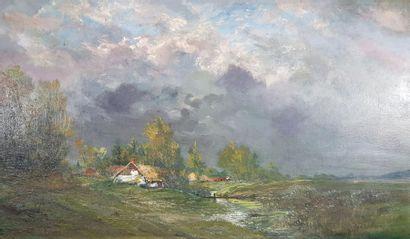 Jean LAVEZZARI (1876-1947) Paysage sous un...