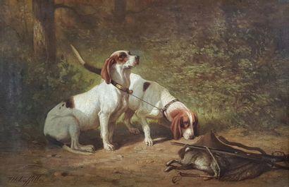 Théodore LAFFITE (1816-1875) Deux chiens...