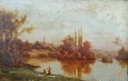 Ecole du XIXe siècle Les lavandières. Huile sur panneau signé R. BARE en bas à droite....