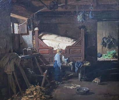 Jules TRAYER (1824-1908) Intérieur breton...