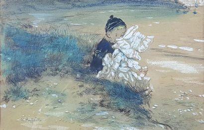 Jean-François RAFFAELLI (1850-1924) Les enfants au bord de l'eau. Dessin à la mine...