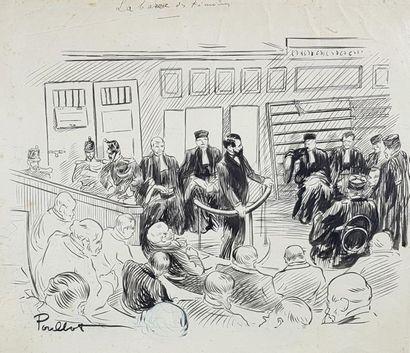 """Francisque POULBOT (1879-1946) """"La barre des témoins"""". Encre de chine (piqûres)..."""