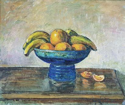 Gustave LOISEAU (1865-1935) La corbeille de fruits. Huile sur toile signée en bas...