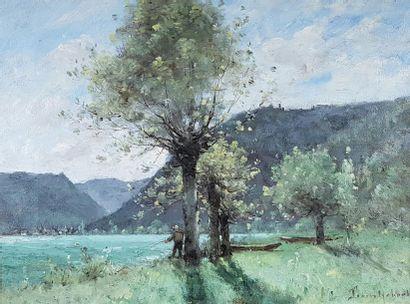 Paul Désiré TROUILLEBERT (1829-1900) Pêcheur et barques près de la rivière. Huile...