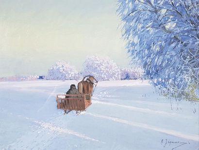 Andrei JEGOROV (1878-1954) Troïka dans la neige. Gouache signée en bas à droite....