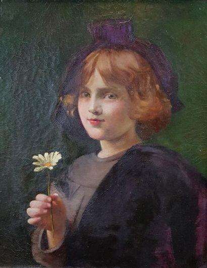 Ecole de la fin du XIXe - début du XXe siècle Jeune fille à la marguerite. Huile...