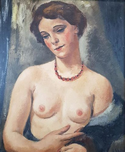 František Zden?k EBERL (1887-1962) Nu en buste. Huile sur toile signée en bas à...