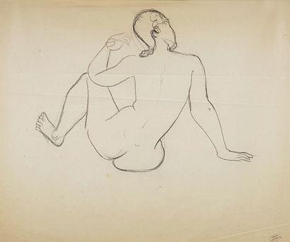 André DERAIN (1880-1954) Nu de dos. Dessin...