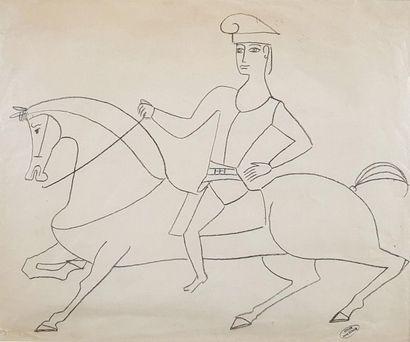 André DERAIN (1880-1954) Cavalier. Dessin...