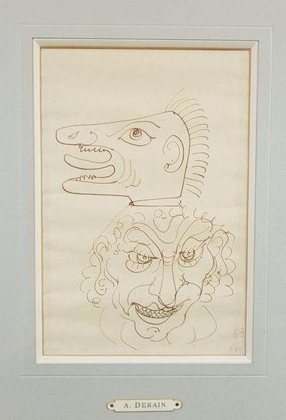 André DERAIN (1880-1954) Les masques. Dessin...
