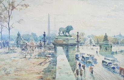 René LEVERD (1872-1938) Vue plongeante de la place de la Concorde. Aquarelle signée...