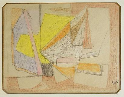 Geer Van VELDE (1898-1977) Composition. Pastel...