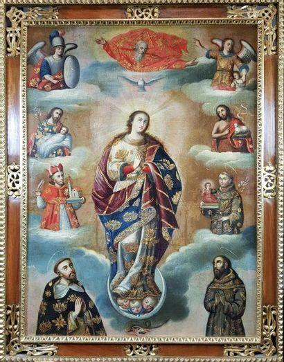Ecole espagnole du XVIIIe siècle Vierge de...