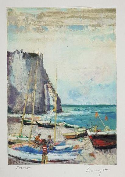 Marcel CRAMOYSAN (1915-2007) Vue d'Etretat....