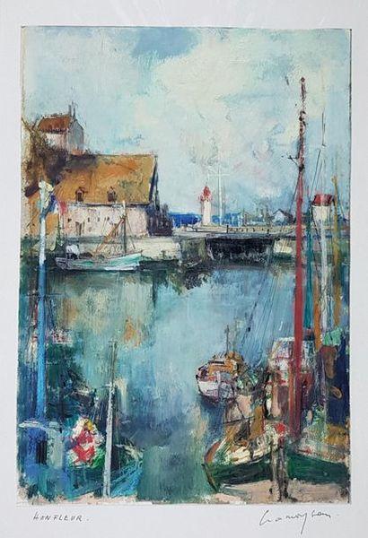 Marcel CRAMOYSAN (1915-2007) Le port de Honfleur....