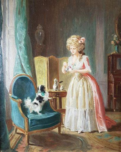 Ecole du XIXe dans le goût du XVIIIe siècle Le petit déjeuner et Le billet doux....