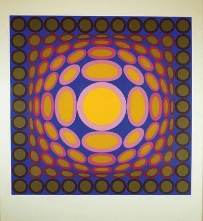 Victor VASARELY (1906-1997) Trivega. Sérigraphie...