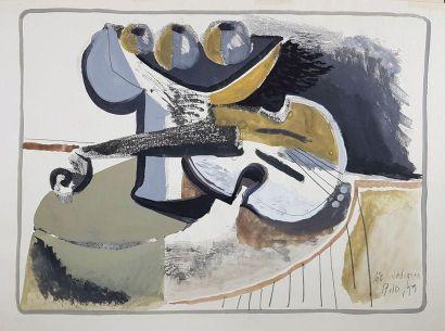 Loïc DUBIGEON (1934-2003) Violon, 1959. Gouache...