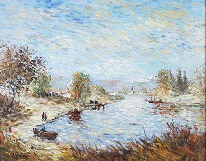 Paul FLAUBERT (1928-1994) Paysage de bord...
