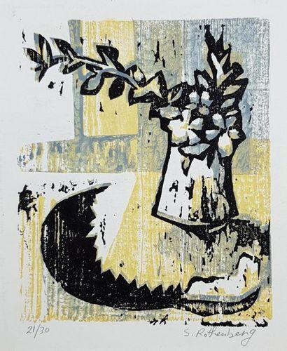Susan ROTHENBERG (1945) Bouquet sur une table....