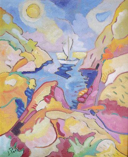 Jacques PONS (1936) Paysage au voilier. Huile...