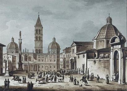 Ecole du début du XXe siècle Vues de Rome. Suite de sept gravures rehaussées de...