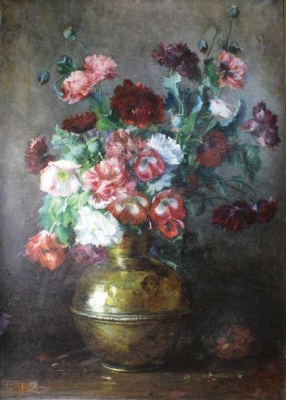 ROZIER (XIXe siècle) Bouquet de fleurs dans...