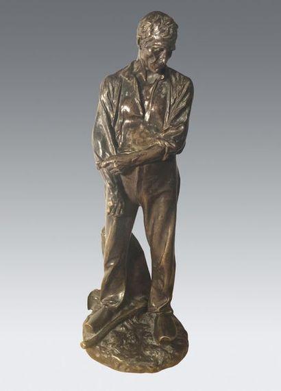 Aimé-Jules DALOU (1838-1902) Paysan remontant...