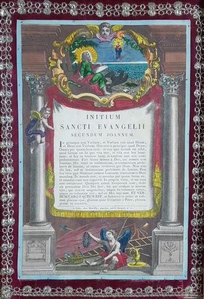 Ecole du XIXe siècle Evocation des évangiles. Deux gravures rehaussées par Marcilly,...