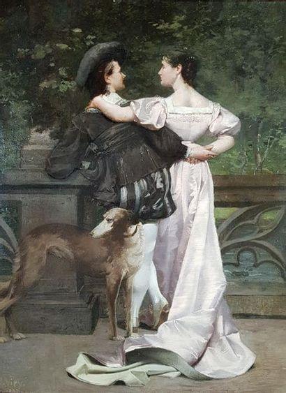 Alphonse VIRY (1832-1913) Les amoureux. Huile...
