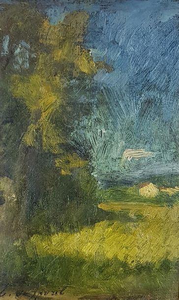 Edouard D'APVRIL (1843-1928) Paysage. Huile...