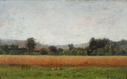 Léon DALLEMAGNE (1837-1907) Les champs de...