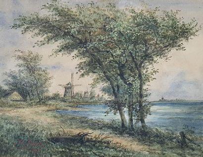 Fred ROHR (1824-1880) Paysage au moulin et...