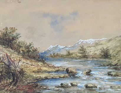 Fred ROHR (1824-1880) Paysage au moulin et paysage de montagnes, 1885. Deux aquarelles...