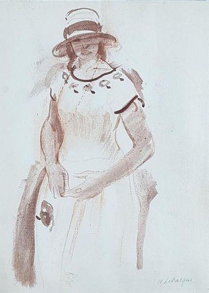 Henri LEBASQUE (1865-1937) Femme au chapeau. Lavis d'encre signé en bas à droite....