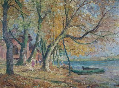 Georges-Jules MOTELEY (1865-1923) Au bord...