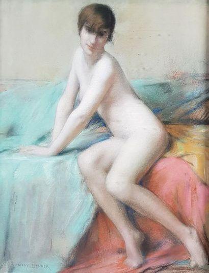 Many BENNER (1873-1965) Nu assis. Pastel...
